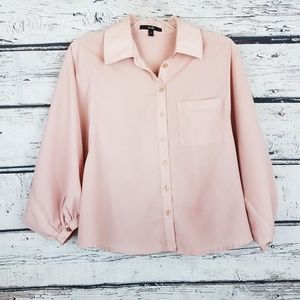 Dusty Rose blush pink bat wings oversized blouse S